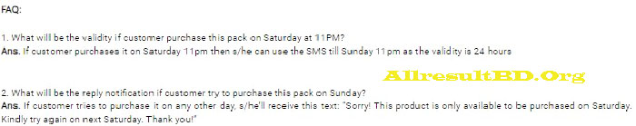 Robi sms Saturday package