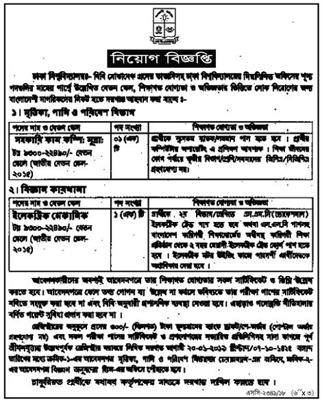 Dhaka University Job Circular 2018- UniVersity Jobs in