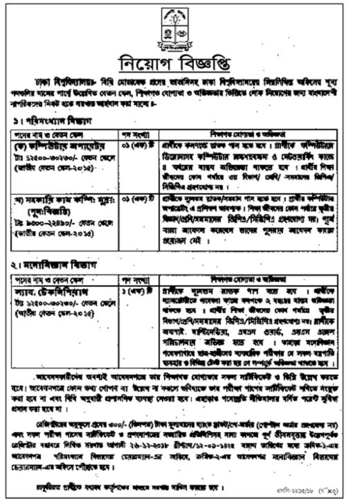 Dhaka University Job Circular 2018