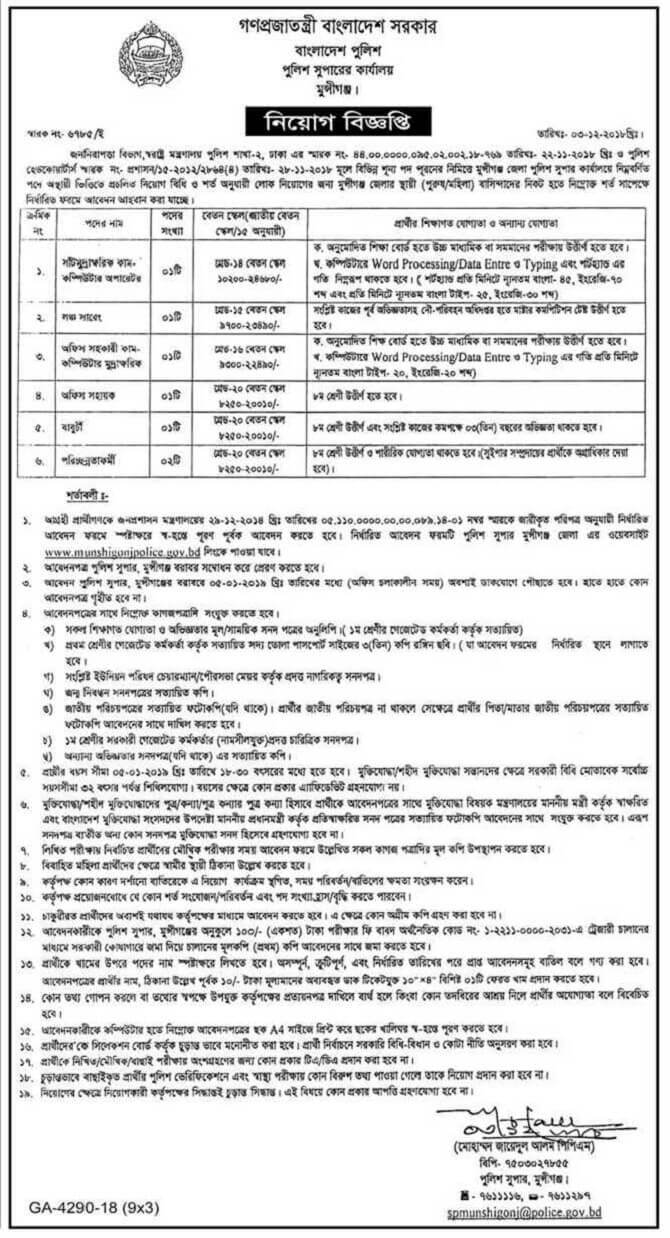 Dowoload Bangladesh Police Job Circular 2018