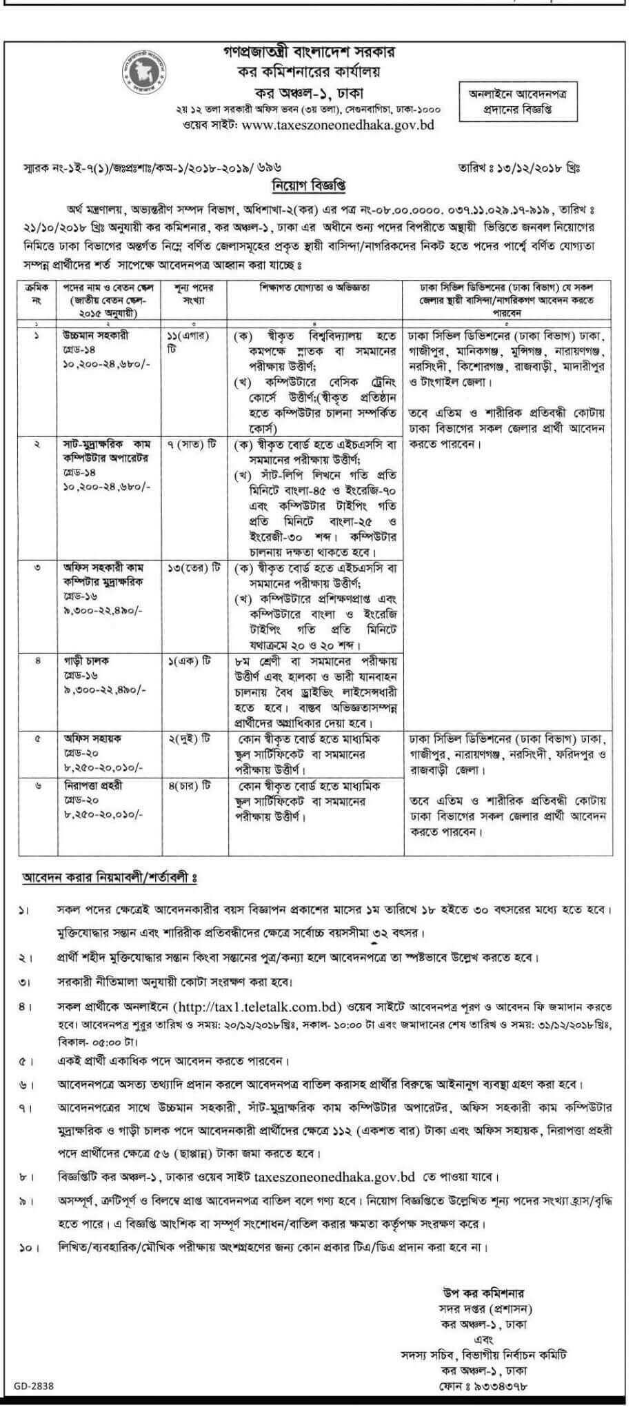 Tax Commissioner Office Job Circular 2018Tax Commissioner Office Job Circular 2018
