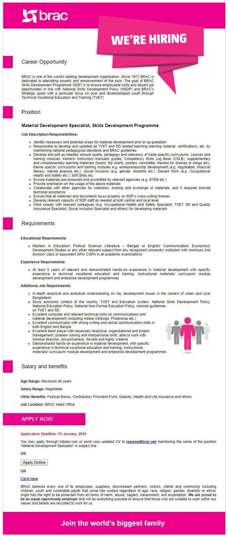 BRAC NGO Job Circular 2019